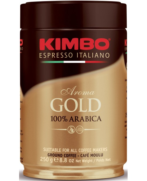Cafea Macinata Kimbo Aroma Gold 100% Arabica Cutie Metalica 250g