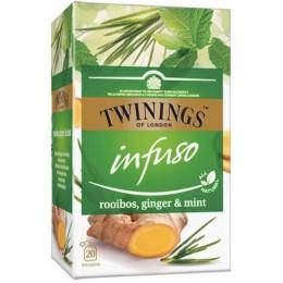 Ceai Twinings Infuzie Rooibos, Ghimbir si Menta 20 Pliculete