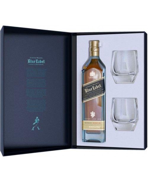 Johnnie Walker Blue Label cu 2 Pahare Cristal Editie Limitata 0.7L Top