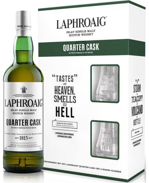 Laphroaig Quarter Cask cu 2 Pahare 0.7L