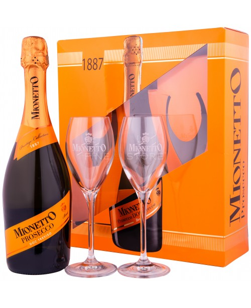 Mionetto Prosecco DOC Treviso Prestige Collection Brut cu 2 Pahare 0.75L