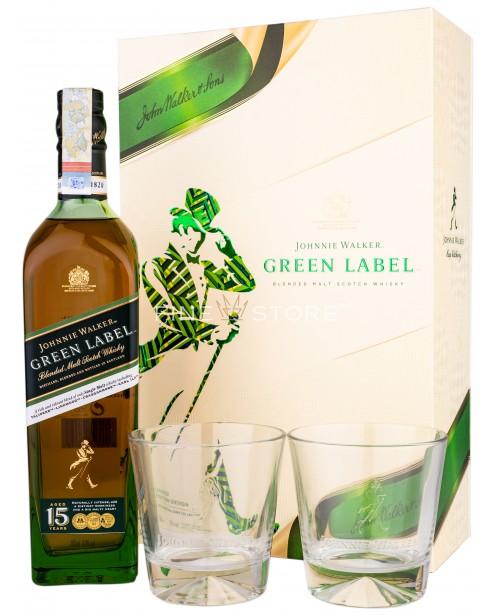 Johnnie Walker Green Label 15 Ani Cu 2 Pahare 0.70L