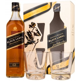 Johnnie Walker Black Label 12 Ani cu 2 Pahare 0.7L