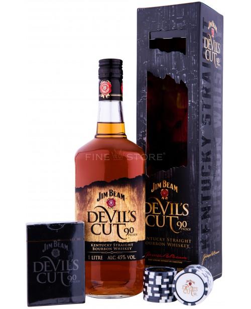 Jim Beam Devil's Cut Cu Carti de Joc si Jetoane Poker 1L Top