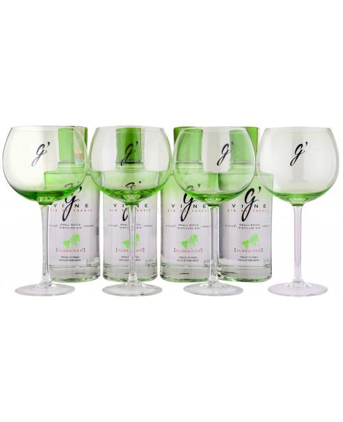 G'Vine Floraison 4 Sticle si 4 Pahare 0.7L