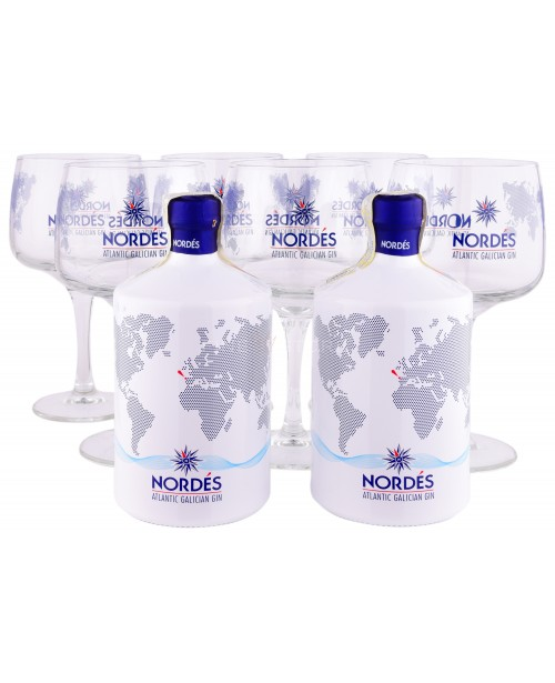 Nordes Atlantic Galician Gin Pachet 2 Sticle si 6 Pahare 0.7L