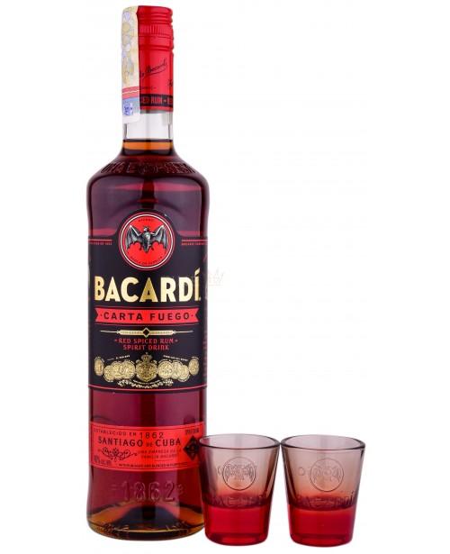 Bacardi Carta Fuego cu 2 Pahare Shot 0.7L