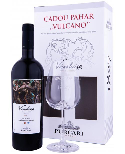 Purcari Vinohora Rosu Rara Neagra & Malbec cu Pahar 0.75L Top