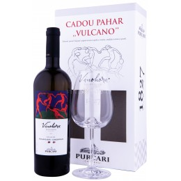 Purcari Vinohora Alb Feteasca Alba & Chardonnay cu Pahar 0.75L
