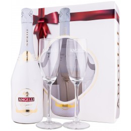 Angelli Elegance Chardonnay Extra Sec cu 2 Pahare 0.75L