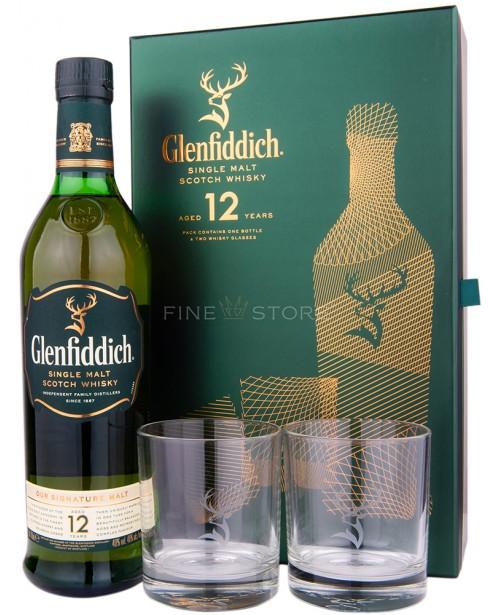 Glenfiddich 12 Ani cu 2 Pahare 0.7L