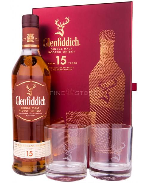 Glenfiddich 15 Ani Solera cu 2 Pahare 0.7L