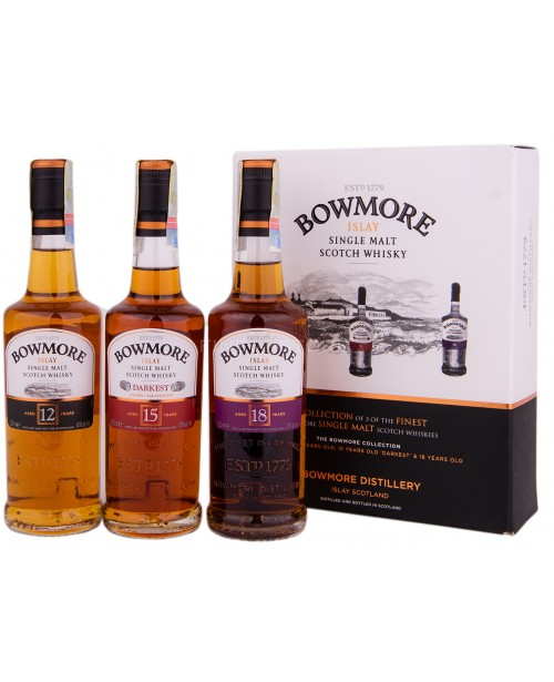 Bowmore Gift Pack (12 Ani, 15 Ani, 18 Ani)